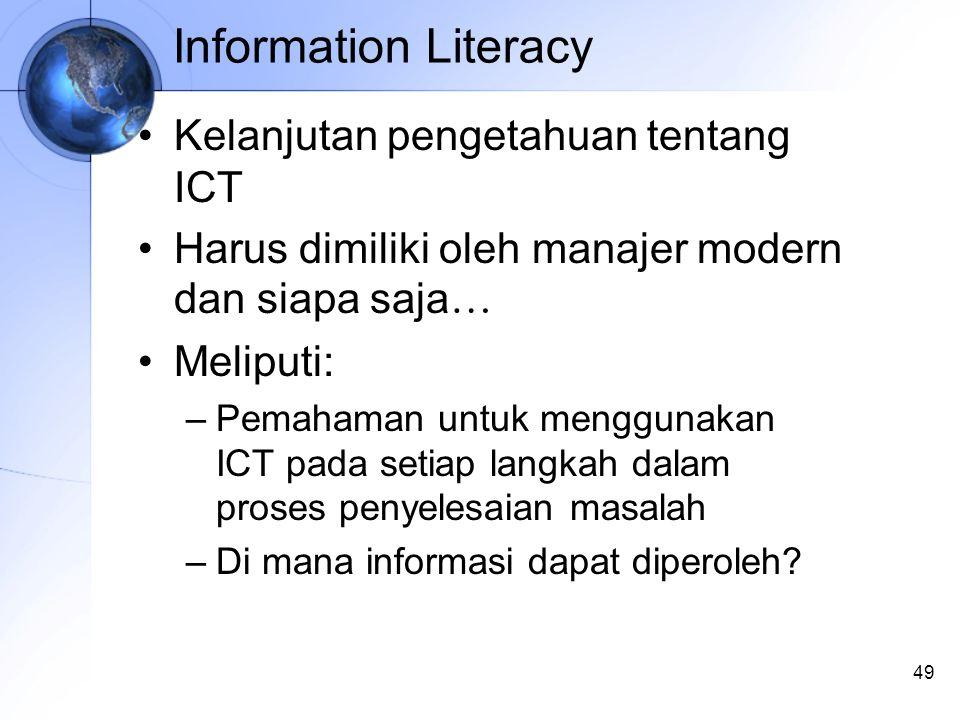 49 Information Literacy Kelanjutan pengetahuan tentang ICT Harus dimiliki oleh manajer modern dan siapa saja … Meliputi: –Pemahaman untuk menggunakan ICT pada setiap langkah dalam proses penyelesaian masalah –Di mana informasi dapat diperoleh?