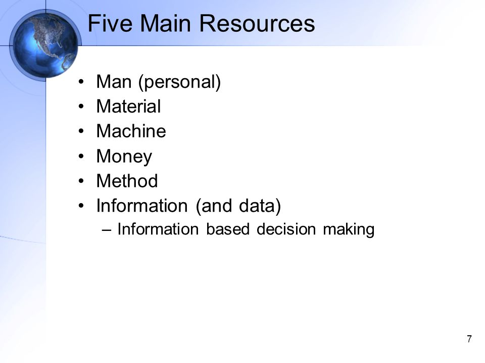 7 Five Main Resources Man (personal) Material Machine Money Method Information (and data) –Information based decision making