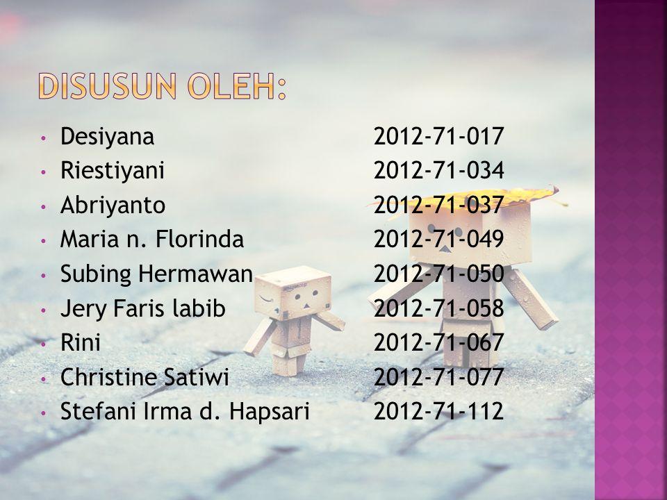 Desiyana 2012-71-017 Riestiyani 2012-71-034 Abriyanto2012-71-037 Maria n. Florinda2012-71-049 Subing Hermawan2012-71-050 Jery Faris labib 2012-71-058