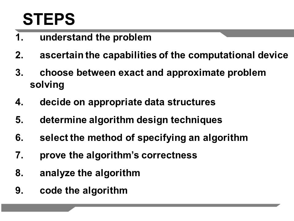 1.understand the problem 2. ascertain the capabilities of the computational device 3.