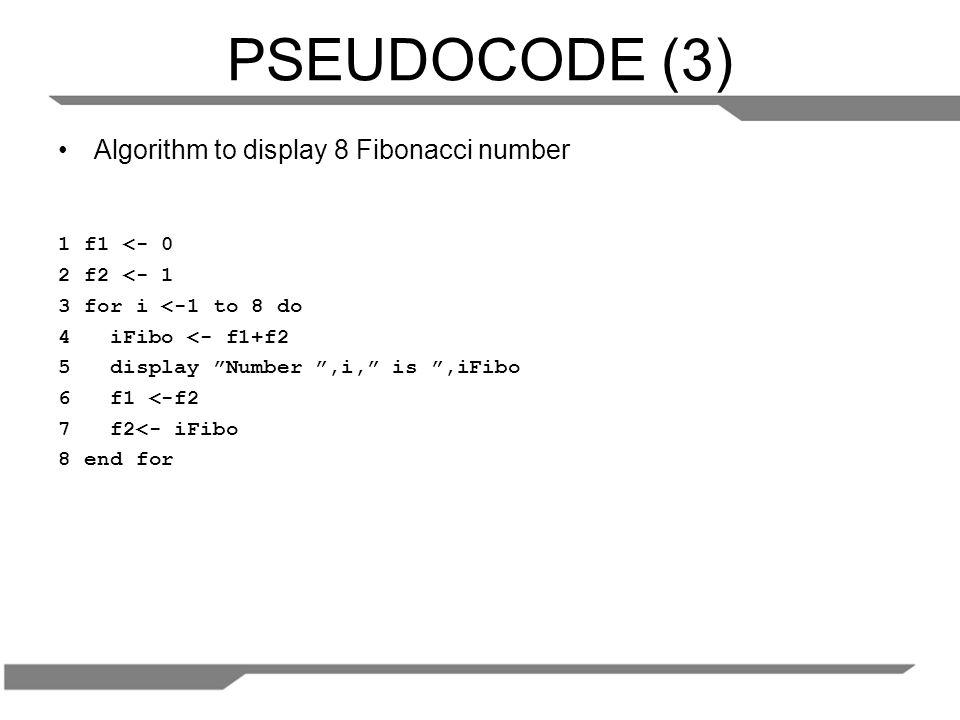 LATIHAN Buatlah sebuah pseudocode untuk menampilkan N bilangan pertama secara terbalik.