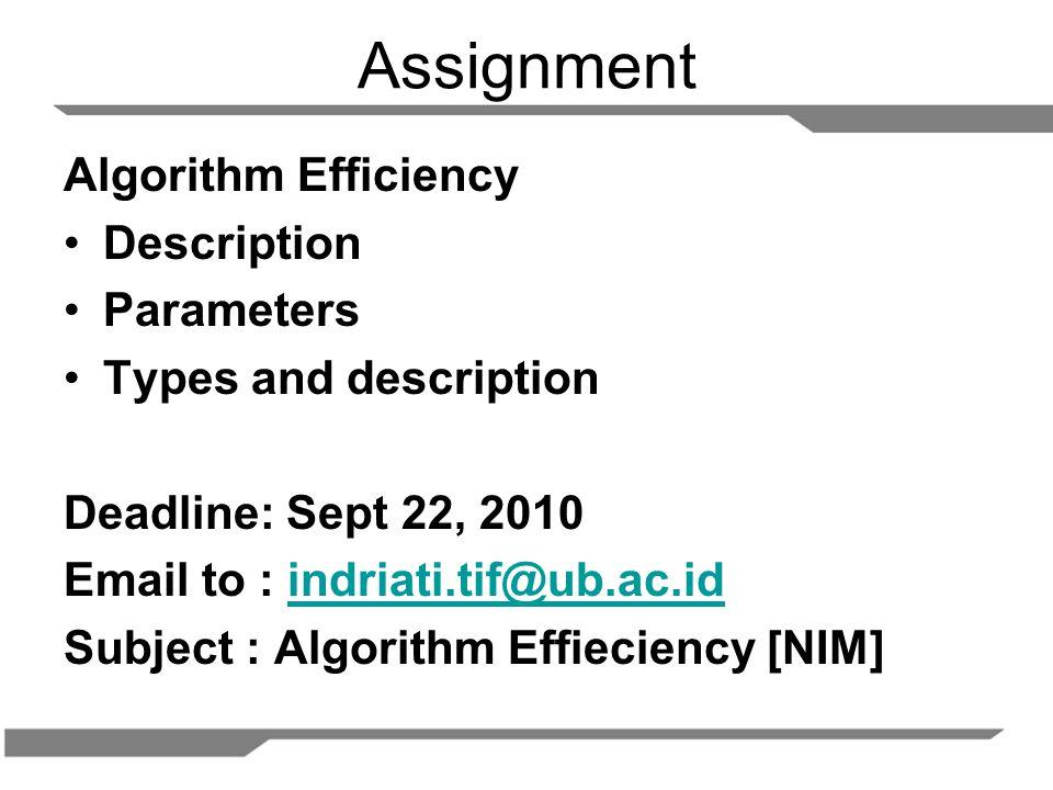 Assignment Algorithm Efficiency Description Parameters Types and description Deadline: Sept 22, 2010 Email to : indriati.tif@ub.ac.idindriati.tif@ub.ac.id Subject : Algorithm Effieciency [NIM]