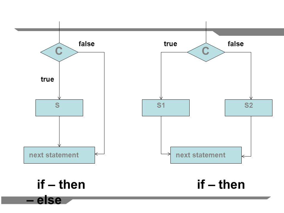 C SS2S1 C next statement if – thenif – then – else false true