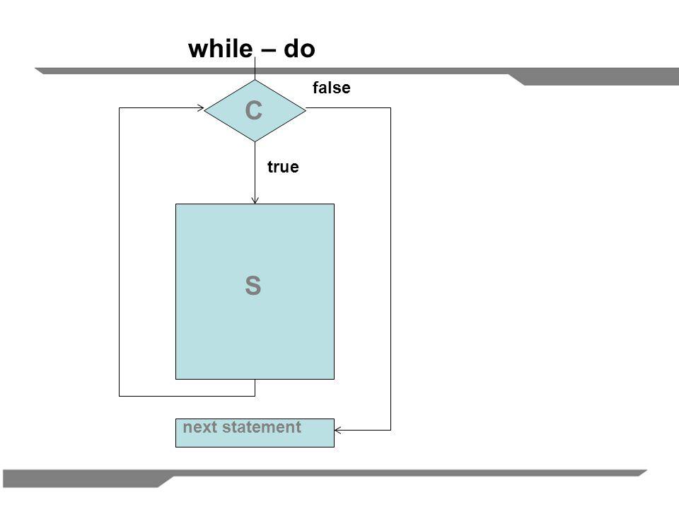 C S next statement false true while – do