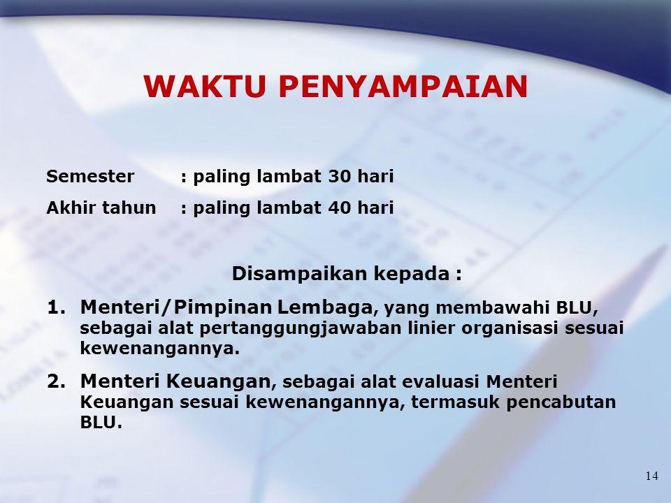 14 WAKTU PENYAMPAIAN Semester : paling lambat 30 hari Akhir tahun : paling lambat 40 hari Disampaikan kepada : 1.Menteri/Pimpinan Lembaga, yang membaw