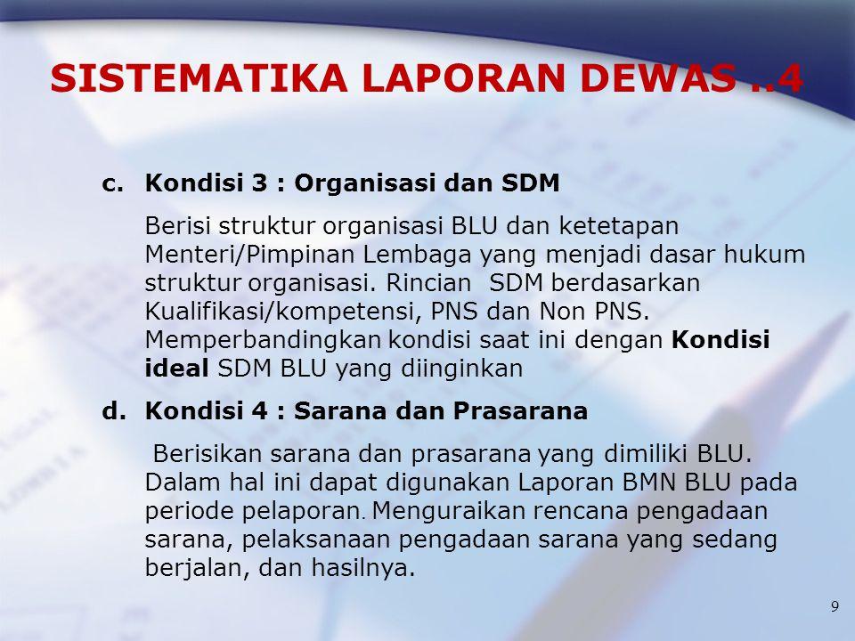 9 SISTEMATIKA LAPORAN DEWAS..4 c.Kondisi 3 : Organisasi dan SDM Berisi struktur organisasi BLU dan ketetapan Menteri/Pimpinan Lembaga yang menjadi das