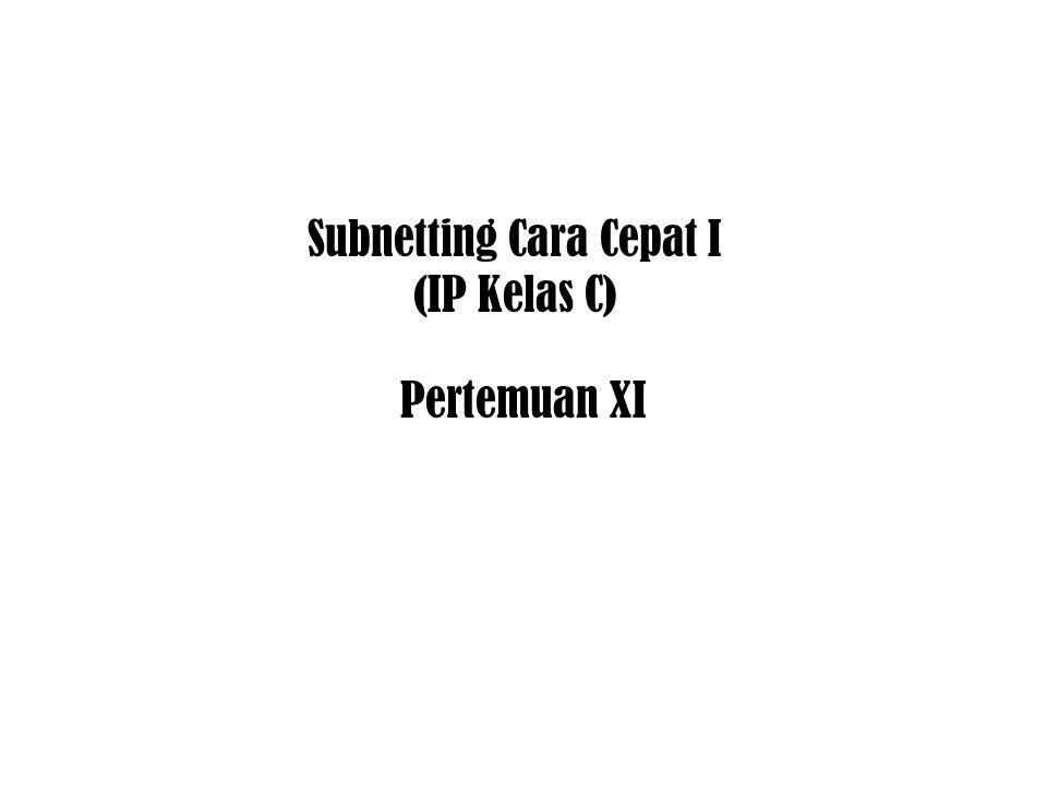 Subnetting Cara Cepat I (IP Kelas C) Pertemuan XI