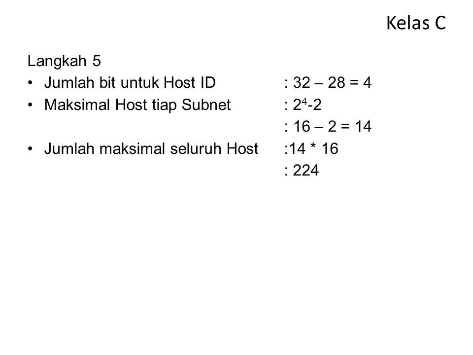 Kelas C Langkah 4 Daftar Subnet (nilai / awal ditambah N) 1.200.120.10.0/28 2.200.120.10.16/28 3.200.120.10.32/28 4.200.120.10.48/28 5.200.120.10.64/2