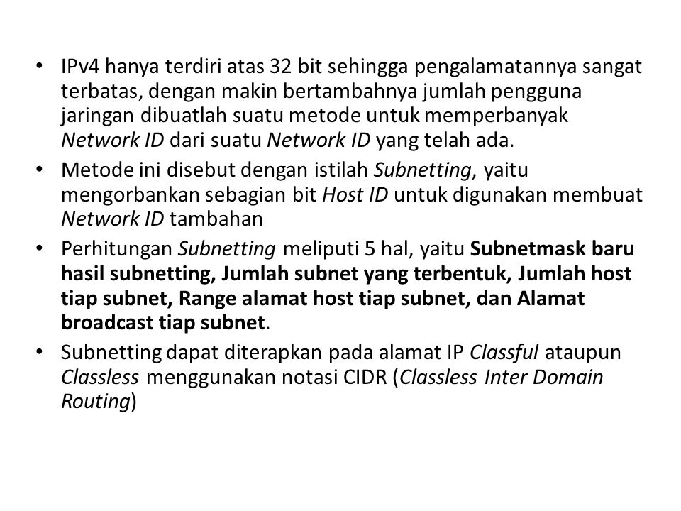 Kelas C Langkah 5 Data lengkap tiap subnet: Subnet ke-13 – Network ID: 200.120.10.192/28 – Range IP Address: 200.120.10.193 s/d 200.120.10.206 – Broadcast address: 200.120.10.207 – Subnetmask: 255.255.255.240 Subnet ke-14 – Network ID: 200.120.10.208/28 – Range IP Address: 200.120.10.209 s/d 200.120.10.222 – Broadcast address: 200.120.10.223 – Subnetmask: 255.255.255.240
