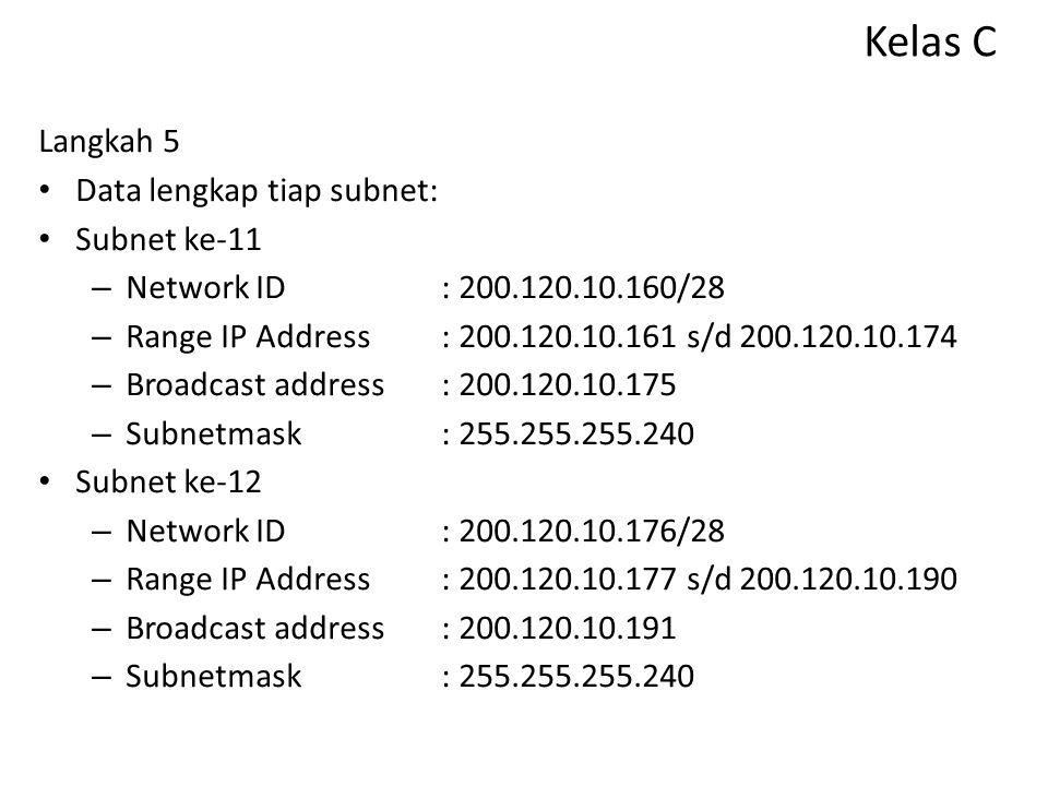 Kelas C Langkah 5 Data lengkap tiap subnet: Subnet ke-9 – Network ID: 200.120.10.128/28 – Range IP Address: 200.120.10.129 s/d 200.120.10.142 – Broadc