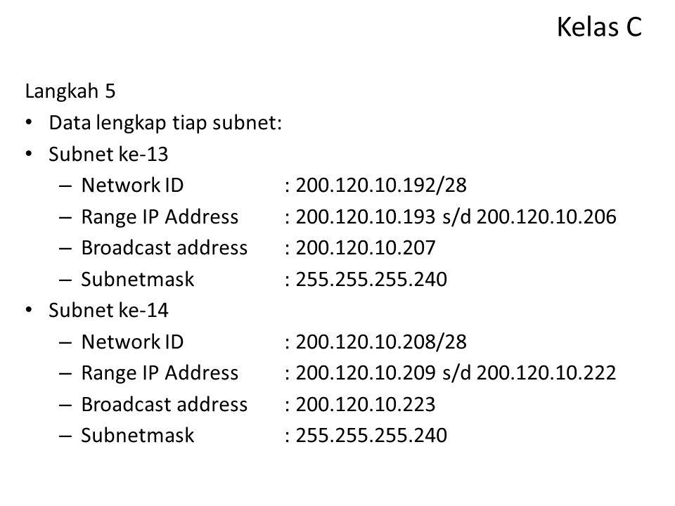 Kelas C Langkah 5 Data lengkap tiap subnet: Subnet ke-11 – Network ID: 200.120.10.160/28 – Range IP Address: 200.120.10.161 s/d 200.120.10.174 – Broad