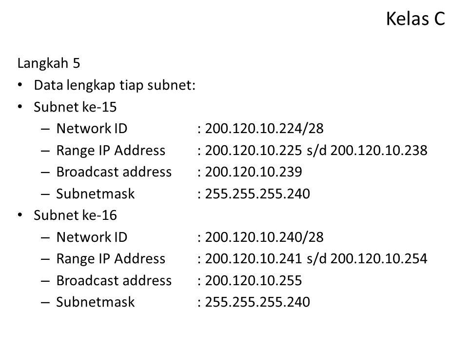 Kelas C Langkah 5 Data lengkap tiap subnet: Subnet ke-13 – Network ID: 200.120.10.192/28 – Range IP Address: 200.120.10.193 s/d 200.120.10.206 – Broad