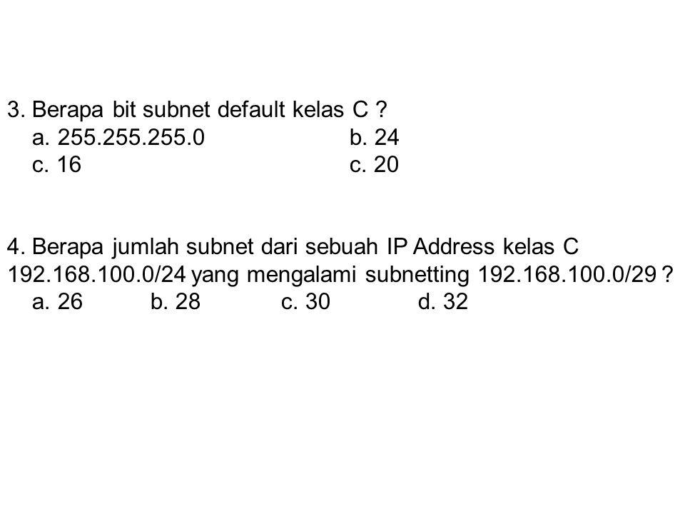 2. Jika diambil 20 bit untuk membuat subnet, berapakah subnetmask-nya ? a. 255.255.252.0b. 255.255.250.0 c. 255.255.240.0d. 255.255.224.0 3. Berapa bi