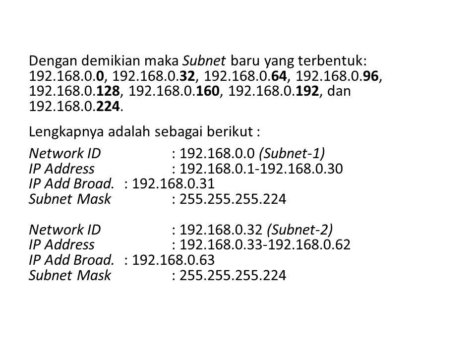 Dengan demikian maka Subnet baru yang terbentuk: 192.168.0.0, 192.168.0.32, 192.168.0.64, 192.168.0.96, 192.168.0.128, 192.168.0.160, 192.168.0.192, dan 192.168.0.224.
