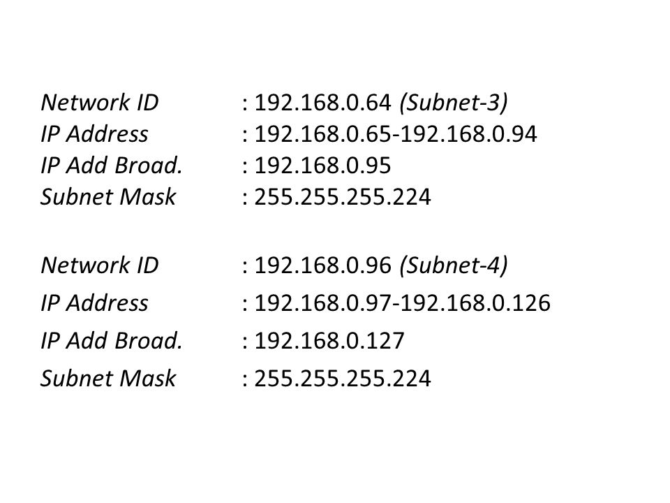 Network ID: 192.168.0.64 (Subnet-3) IP Address: 192.168.0.65-192.168.0.94 IP Add Broad.: 192.168.0.95 Subnet Mask: 255.255.255.224 Network ID: 192.168.0.96 (Subnet-4) IP Address: 192.168.0.97-192.168.0.126 IP Add Broad.: 192.168.0.127 Subnet Mask: 255.255.255.224