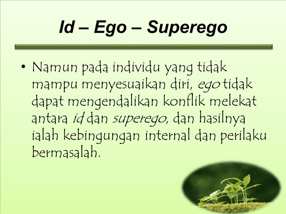 Id – Ego – Superego Namun pada individu yang tidak mampu menyesuaikan diri, ego tidak dapat mengendalikan konflik melekat antara id dan superego, dan hasilnya ialah kebingungan internal dan perilaku bermasalah.