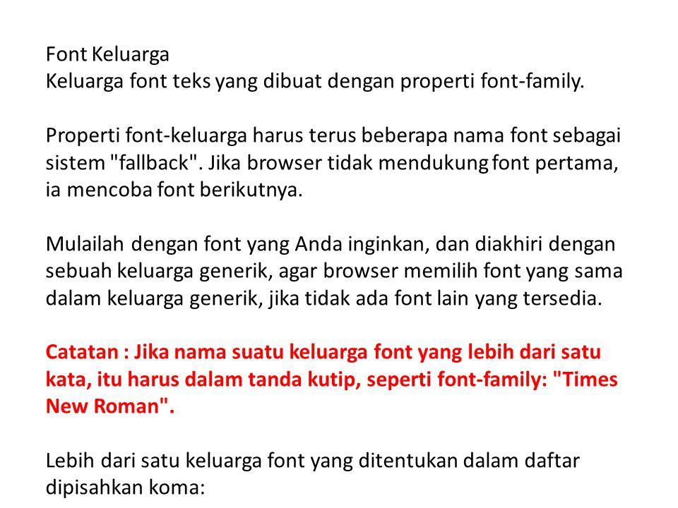 Font Keluarga Keluarga font teks yang dibuat dengan properti font-family. Properti font-keluarga harus terus beberapa nama font sebagai sistem