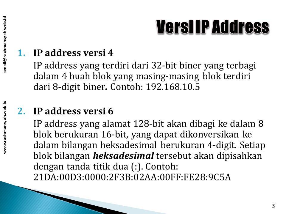 www.rachmansyah.web.id email@rachmansyah.web.id 1.IP address versi 4 IP address yang terdiri dari 32-bit biner yang terbagi dalam 4 buah blok yang masing-masing blok terdiri dari 8-digit biner.