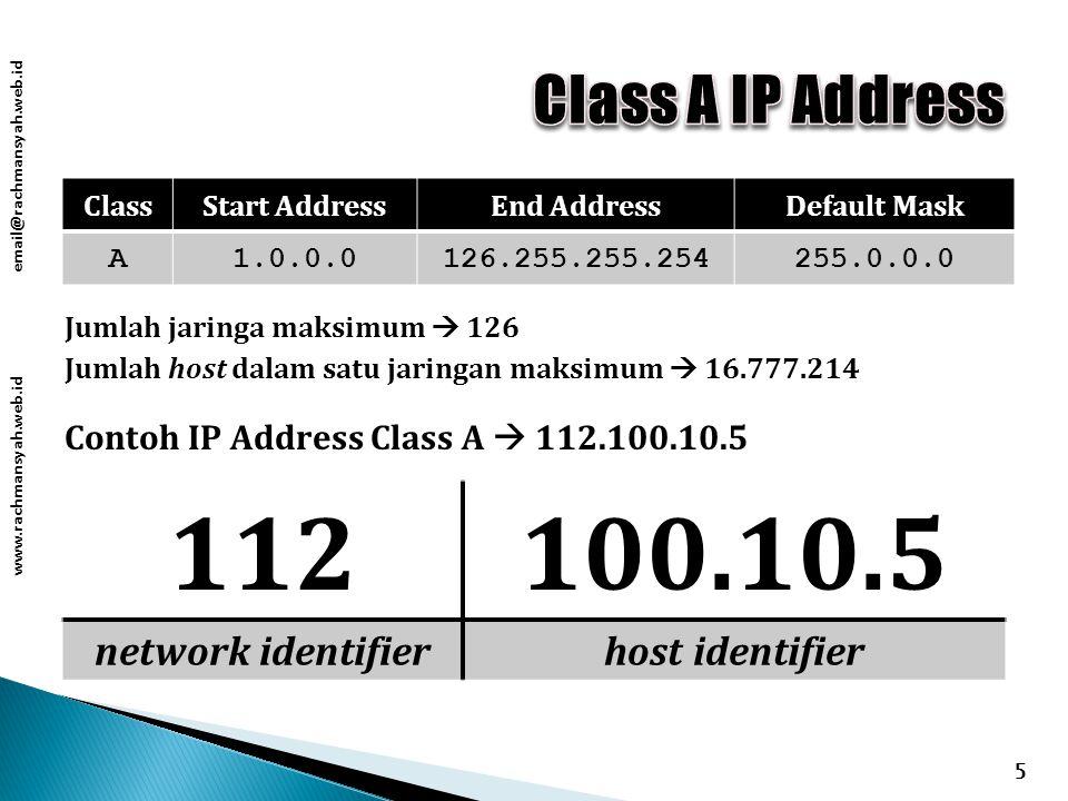www.rachmansyah.web.id email@rachmansyah.web.id 5 ClassStart AddressEnd AddressDefault Mask A1.0.0.0126.255.255.254255.0.0.0 Contoh IP Address Class A  112.100.10.5 112100.10.5 network identifierhost identifier Jumlah jaringa maksimum  126 Jumlah host dalam satu jaringan maksimum  16.777.214