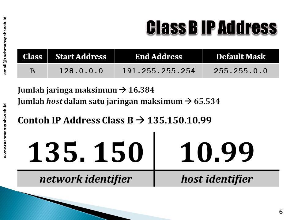 www.rachmansyah.web.id email@rachmansyah.web.id 6 ClassStart AddressEnd AddressDefault Mask B128.0.0.0191.255.255.254255.255.0.0 Contoh IP Address Class B  135.150.10.99 135.