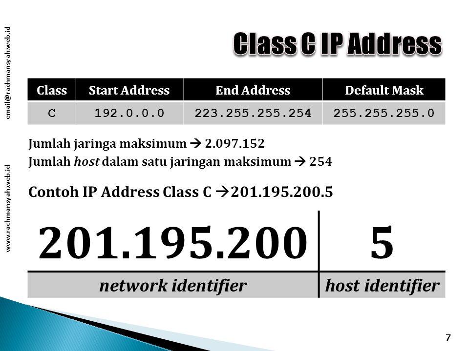 www.rachmansyah.web.id email@rachmansyah.web.id 7 ClassStart AddressEnd AddressDefault Mask C192.0.0.0223.255.255.254255.255.255.0 Contoh IP Address Class C  201.195.200.5 201.195.2005 network identifierhost identifier Jumlah jaringa maksimum  2.097.152 Jumlah host dalam satu jaringan maksimum  254