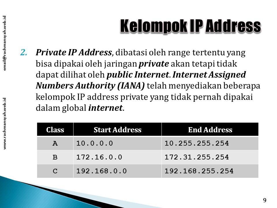 www.rachmansyah.web.id email@rachmansyah.web.id 2.Private IP Address, dibatasi oleh range tertentu yang bisa dipakai oleh jaringan private akan tetapi tidak dapat dilihat oleh public Internet.