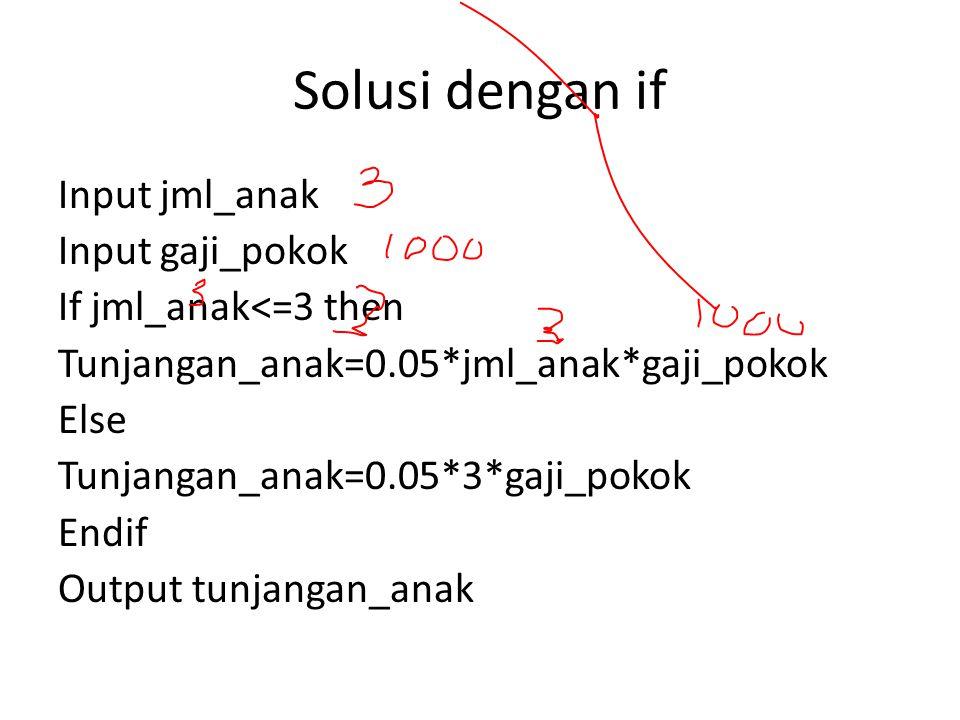 Solusi dg case Input jml_anak Input gaji_pokok Case of jml_anak Jml_anak=0 : tunjangan_anak=0.05*0*gaji_pokok; Jml_anak=1 : tunjangan_anak=0.05*1*gaji_pokok; Jml_anak=2 : tunjangan_anak=0.05*2*gaji_pokok; Jml_anak=3 : tunjangan_anak=0.05*3*gaji_pokok; Default Tunjangan_anak=0.05*3*gaji_pokok; Endcase Output tunjangan_anak