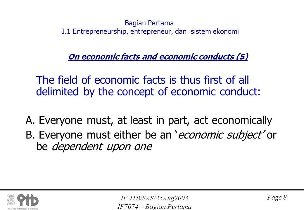 IF-ITB/SAS/25Aug2003 IF7074 – Bagian Pertama Page 9 Bagian Pertama I.1 Entrepreneurship, entrepreneur, dan sistem ekonomi On economic facts and economic conducts (7) C.