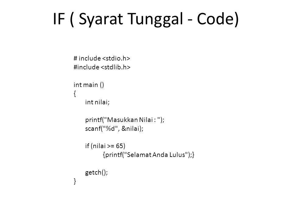 IF ( Syarat Tunggal - Code) # include int main () { int nilai; printf(