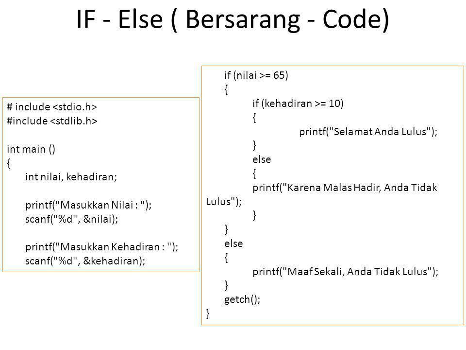 Struktur SWITCH switch (pilihan) { case pilihan1 : {aksi_1; break;} case pilihan2 : {aksi_2; break;} case pilihan3 : {aksi_3; break;} default : {aksi_default; break;} }