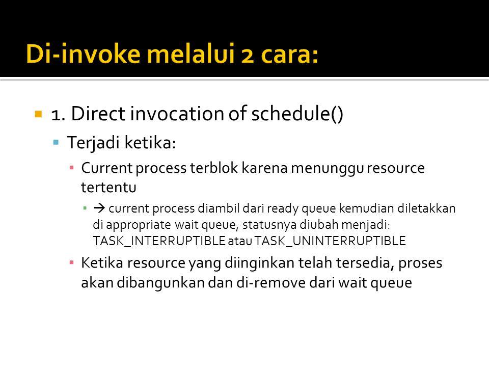  1. Direct invocation of schedule()  Terjadi ketika: ▪ Current process terblok karena menunggu resource tertentu ▪  current process diambil dari re