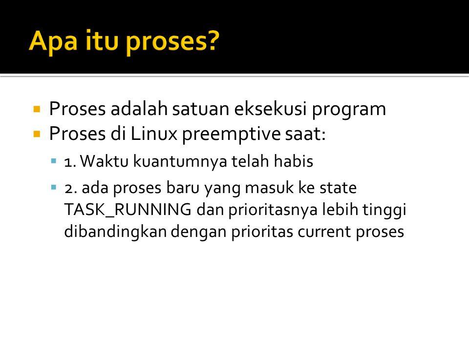  scheduler mengalokasikan CPU time untuk runnable processes melalui informasi di task struct  Scheduling terjadi saat schedule(), yang bertujuan untuk menemukan proses dalam queue meng-assign ke CPU