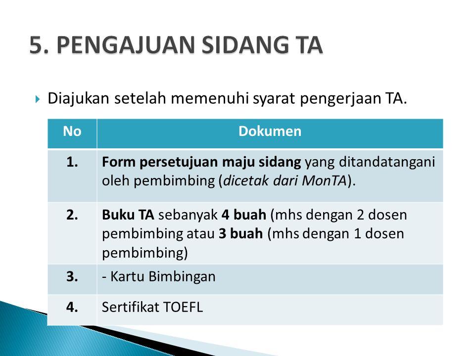  Diajukan setelah memenuhi syarat pengerjaan TA.
