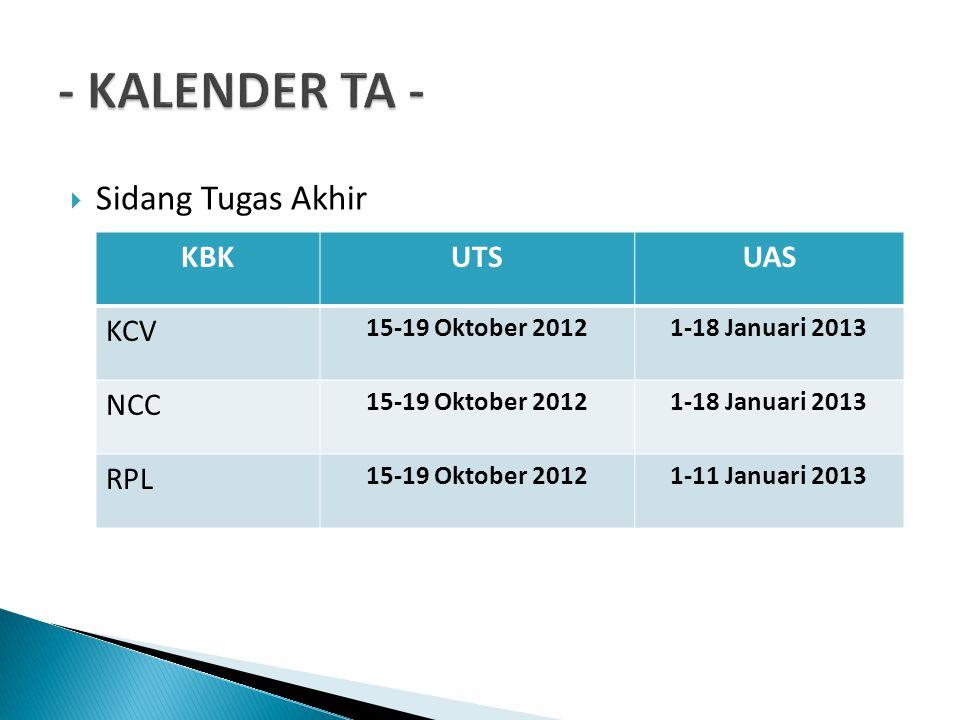  Sidang Tugas Akhir KBKUTSUAS KCV 15-19 Oktober 20121-18 Januari 2013 NCC 15-19 Oktober 20121-18 Januari 2013 RPL 15-19 Oktober 20121-11 Januari 2013