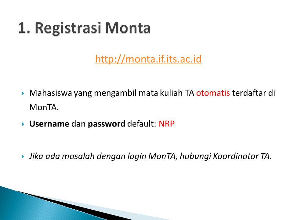 http://monta.if.its.ac.id  Mahasiswa yang mengambil mata kuliah TA otomatis terdaftar di MonTA.