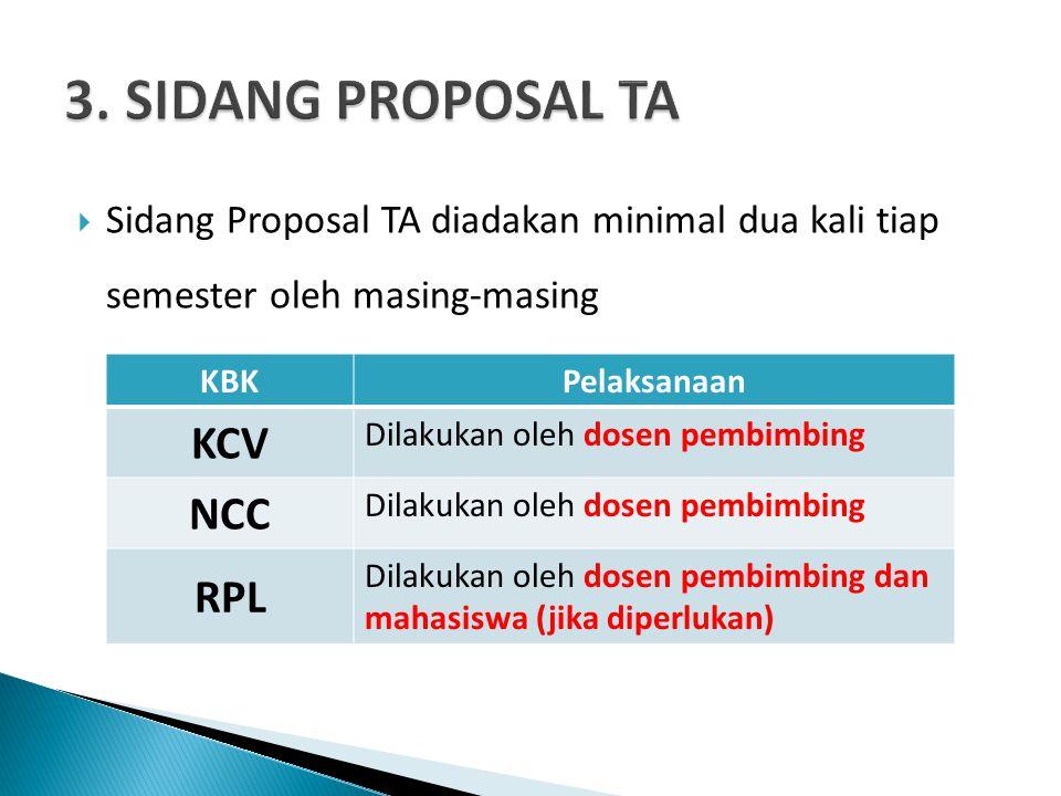  Sidang Proposal TA diadakan minimal dua kali tiap semester oleh masing-masing KBKPelaksanaan KCV Dilakukan oleh dosen pembimbing NCC Dilakukan oleh dosen pembimbing RPL Dilakukan oleh dosen pembimbing dan mahasiswa (jika diperlukan)