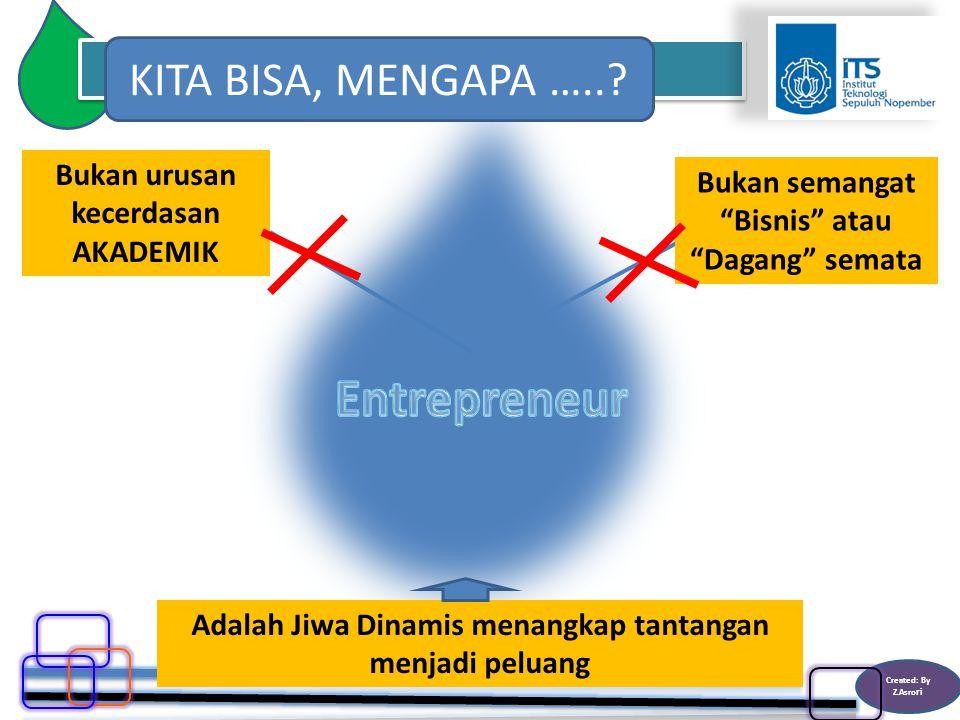 Created: By Z.Asro ri Bukan semangat Bisnis atau Dagang semata Bukan urusan kecerdasan AKADEMIK Adalah Jiwa Dinamis menangkap tantangan menjadi peluang KITA BISA, MENGAPA …..