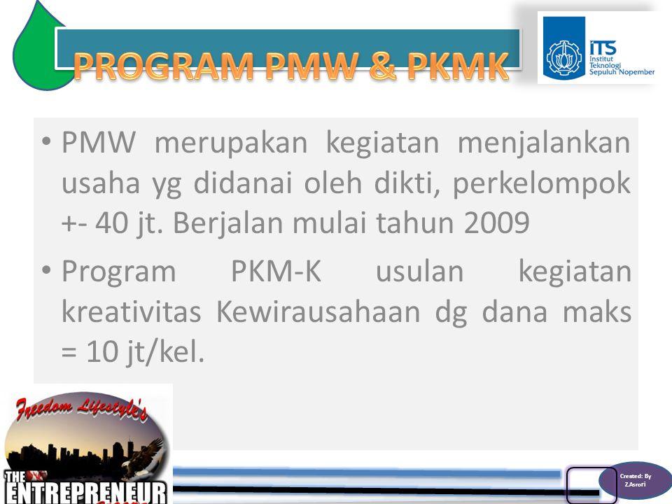 Created: By Z.Asro ri PMW merupakan kegiatan menjalankan usaha yg didanai oleh dikti, perkelompok +- 40 jt.