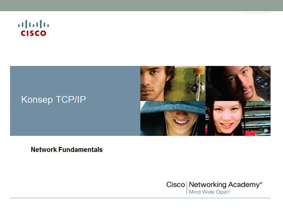 Outline Konsep Dasar TCP/IP Layanan TCP/IP Komunikasi Data dalam TCP/IP Cara Kerja TCP/IP Arsitektur TCP/IP Protokol TCP/IP Pembagian IP Address Latihan