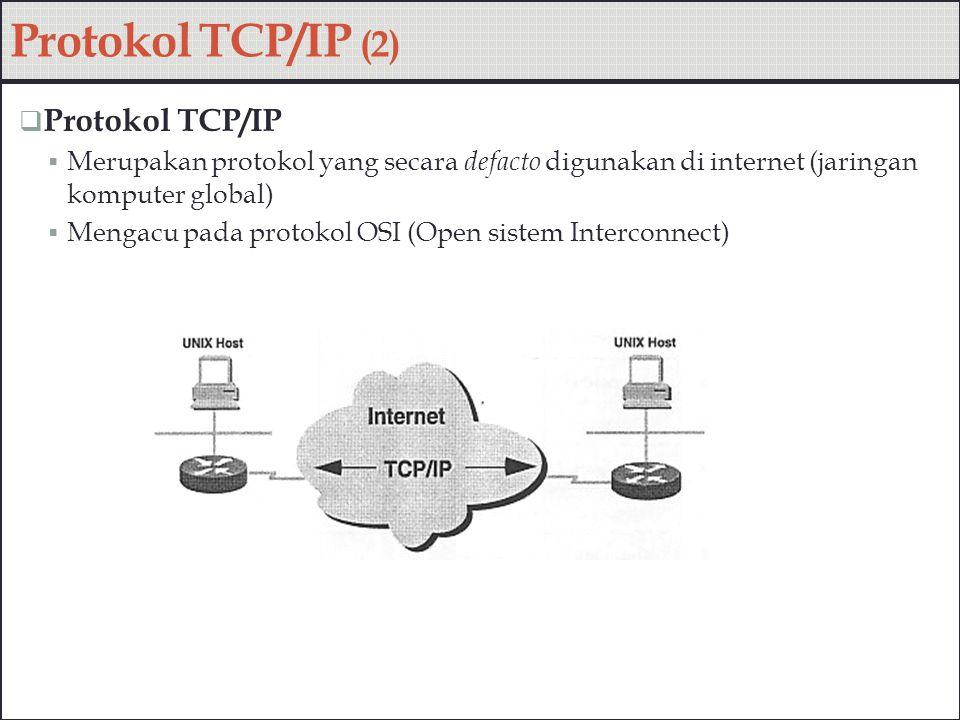 Perbandingan Model OSI dan implementasi TCP/IP Protokol TCP/IP (3)
