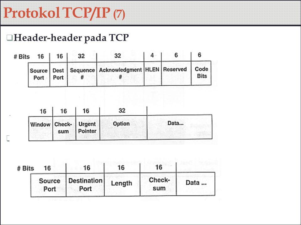  Feature-feature pada TCP  Flow control, handshake Protokol TCP/IP (8)
