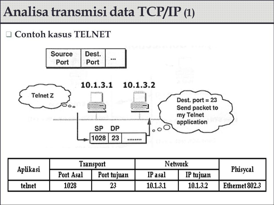  Analisa dengan Netstat di server  Analisa dengan Netstat di client Analisa transmisi data TCP/IP (2) # netstat -na Active Connections Proto Local AddressForeign AddressState TCP 0.0.0.0:230.0.0.0:0LISTENING TCP 10.1.3.2:2310.1.3.1:1028ESTABLISHED # netstat -na Active Connections Proto Local AddressForeign AddressState TCP 10.1.3.1:102810.1.3.2:23ESTABLISHED