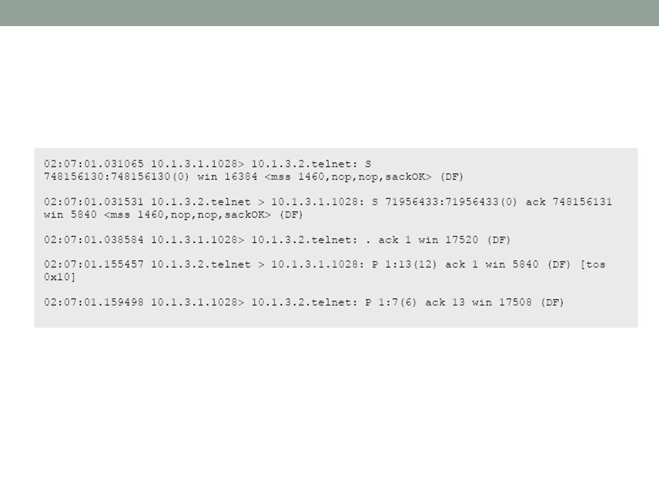 Baris 1, pada pukul 02:07:01: time stamp 031065 Client (10.1.3.1) melakukan koneksi ke Server (10.1.3.2) dengan port asal 1028 dengan servis tujuan berupa telnet.