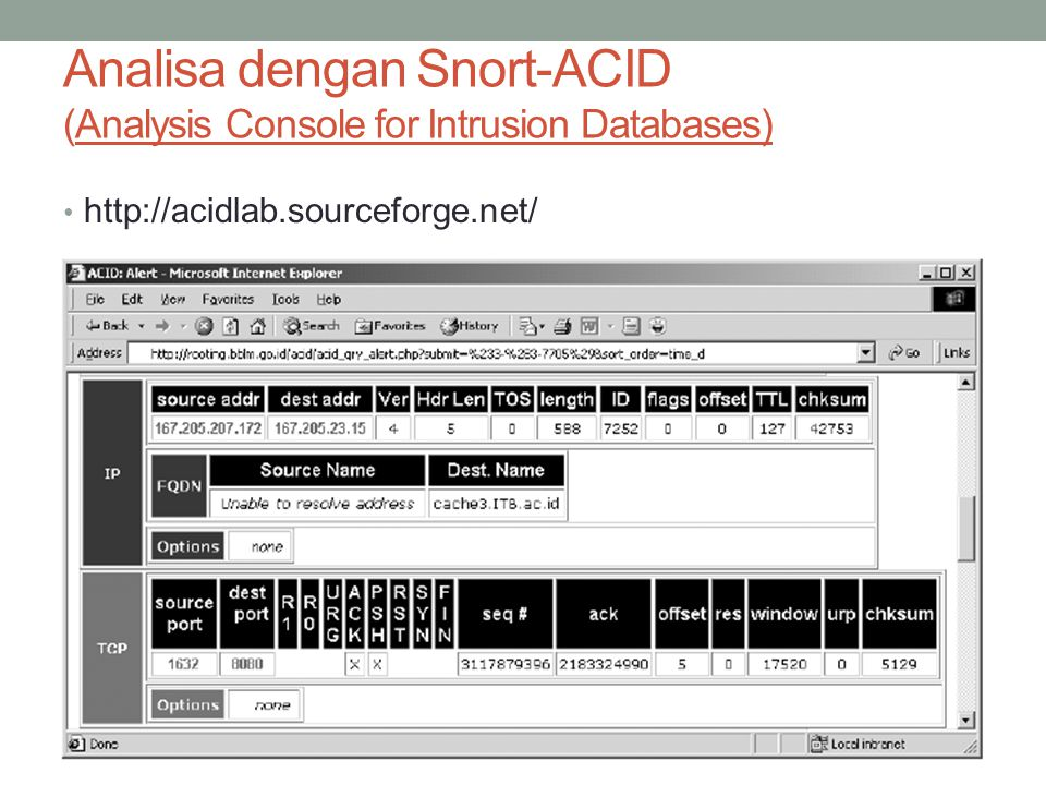 Analisa dengan Snort-ACID (Analysis Console for Intrusion Databases) http://acidlab.sourceforge.net/