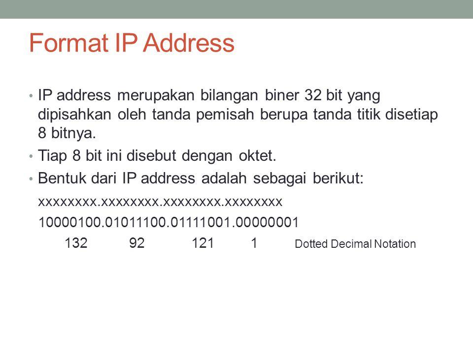Network ID dan Host ID Pembagian kelas-kelas IP berdasarkan pada dua hal : Network ID dan host ID dari suatu IP.