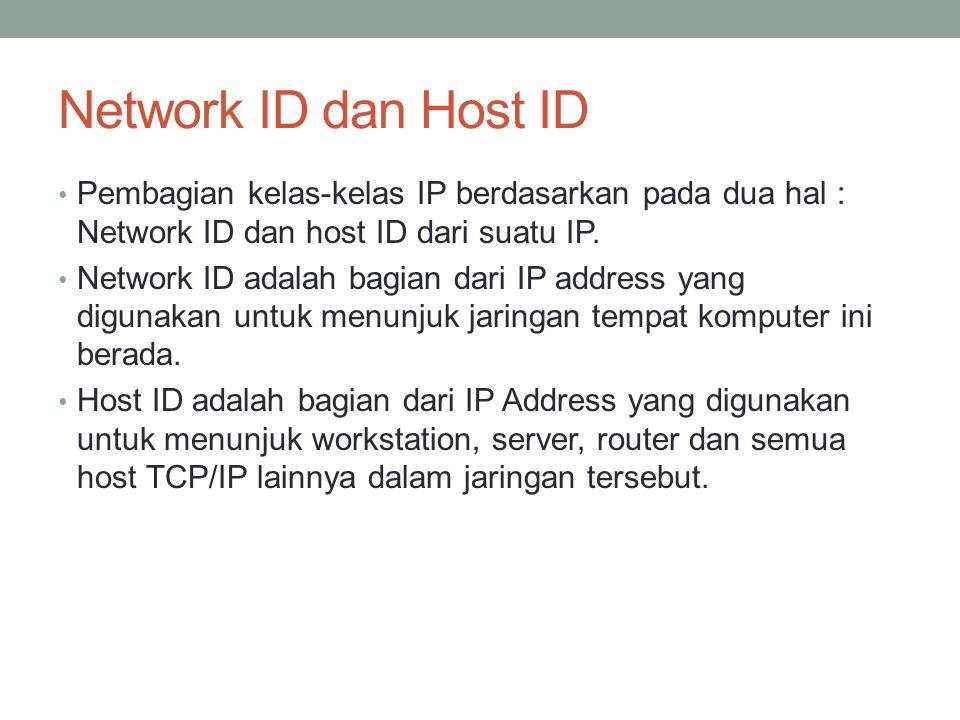Pembagian IP Address Dikenal dua cara pembagian IP address: Classfull Addressing Classless Addressing