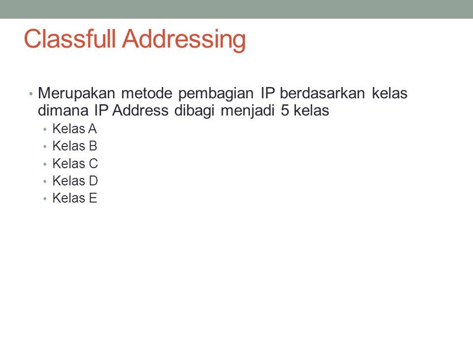 Kelas A Format :0nnnnnn.hhhhhhhh.hhhhhhhh.hhhhhhhh Bit Pertama :0 Panjang NetID:8 bit Panjang HostID:24 Bit Byte Pertama:0-127 Jumlah:126 Kelas A (0 dan 127 dicadangkan) Range IP:1.xxx.xxx.xxx sampai 126.xxx.xxx.xxx Jumlah IP:16.777.214 IP Address disetiap kelas A Dekripsi:Diberikan untuk jaringan dengan jumlah host yang besar