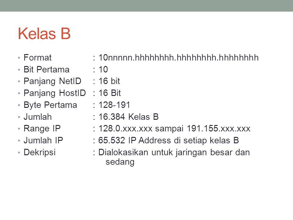 Kelas C Format :110nnnn.hhhhhhhh.hhhhhhhh.hhhhhhhh Bit Pertama :110 Panjang NetID:24 bit Panjang HostID:8 Bit Byte Pertama:192-223 Jumlah:2.097.152 Kelas C Range IP:192.xxx.xxx.xxx sampai 223.255.255.xxx Jumlah IP:254 IP Address disetiap kelas C Dekripsi:Diberikan untuk jaringan berukuran kecil