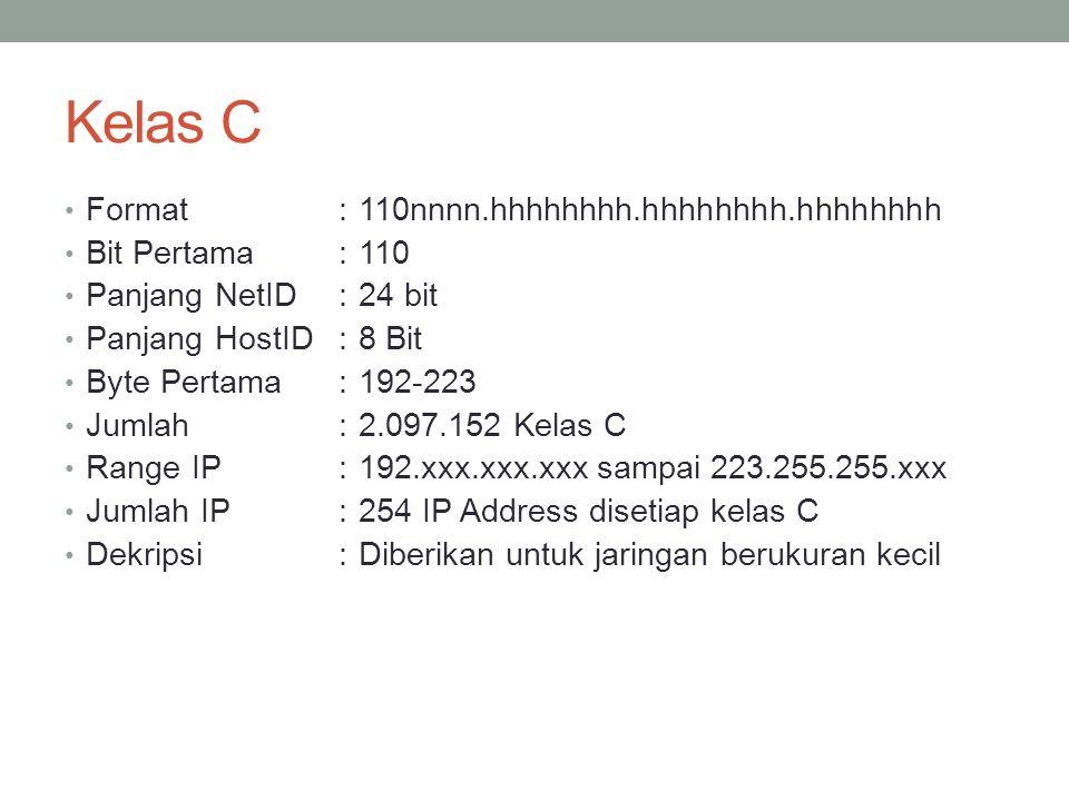 Kelas D Format :1110nnn.hhhhhhhh.hhhhhhhh.hhhhhhhh Bit Pertama :1110 Bit Multicast:28 bit Byte Inisial:224-247 Dekripsi:Kelas D digunakan untuk keperluan IP Multicast