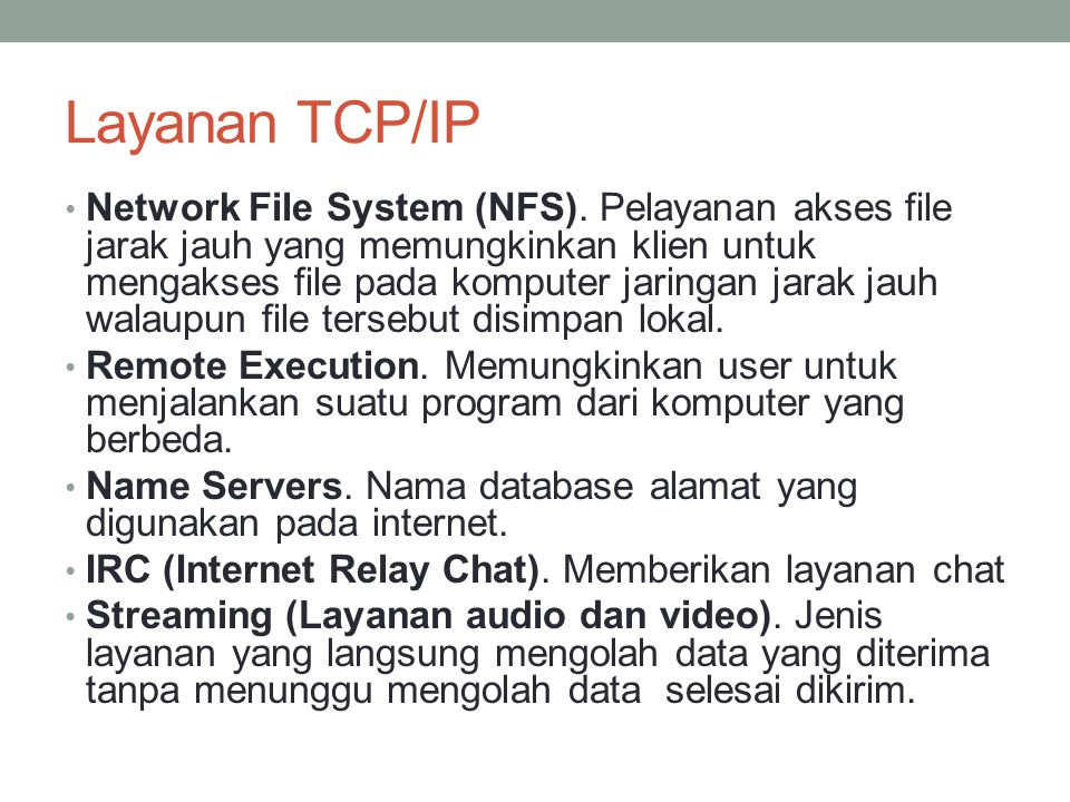 Layanan TCP/IP Network File System (NFS).